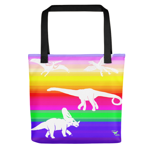 medium tote bag - dinosaur rainbow stripe