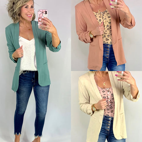 THE BEST BASIC BLAZER/ AVAILABLE IN 3 COLORS
