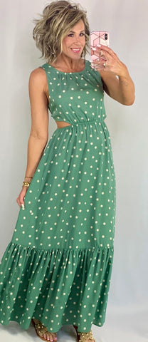 PRETTY WOMAN IN POLKA DOTS DRESS