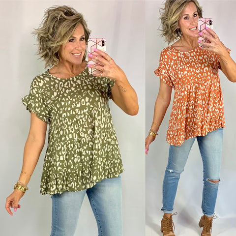 BAYSIDE BRUNCH BABYDOLL TOP/ AVAILABLE IN 2 COLORS