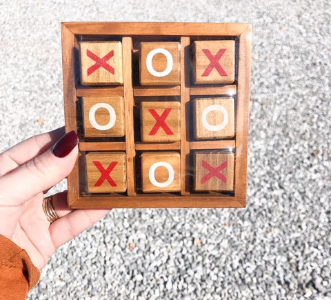 WOODEN TIC TAC TOE BOX