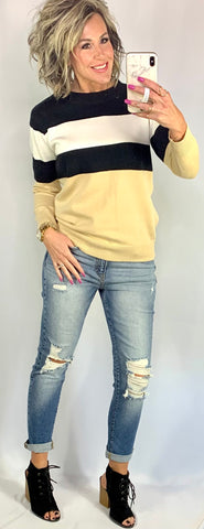 GRANT COLORBLOCK SWEATER/ AVAILABLE IN SIZES SMALL-2XLARGE