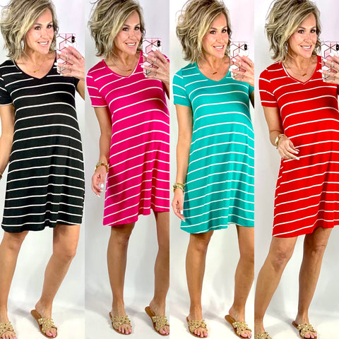 THE ABBY VNECK STRIPED DRESS/ AVAILABLE IN 4 COLORS