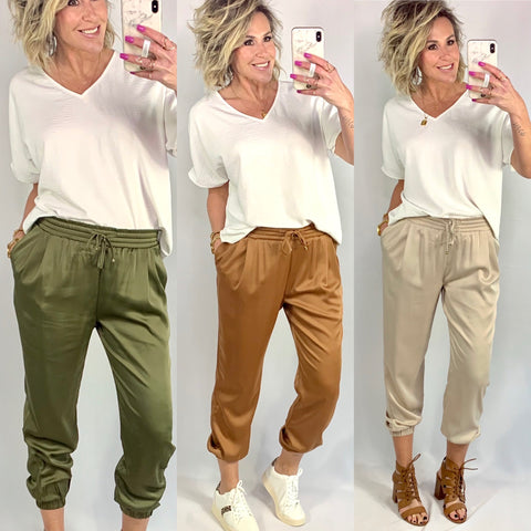 THE JACIE SATIN JOGGERS/ AVAILABLE IN 3 COLORS