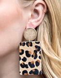 LEATHER ANIMAL PRINT EARRINGS/ AVAILABLE IN 4 COLORS