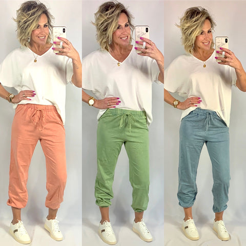 THE MINDY MINERAL WASH JOGGERS/ AVAILABLE IN 3 COLORS