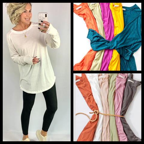 THE EMILY RAW EDGE TUNIC/ AVAILABLE IN 12 COLORS