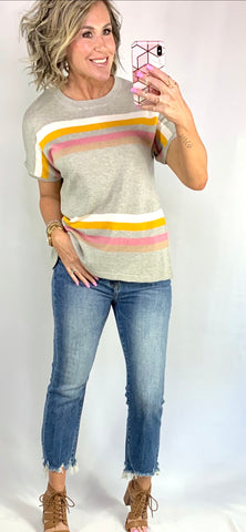 SPRING STRIPES AND SANGRIA TOP/ SMALL-3XLARGE
