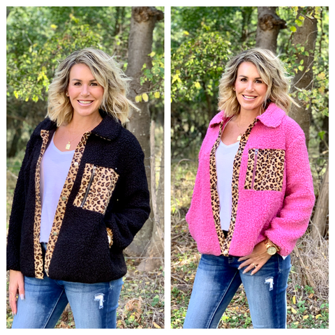 SO SASSY IN SHERPA LEOPARD JACKET