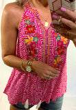 HOT PINK IN HAWAII EMBROIDERED TANK/ SMALL-3XLARGE