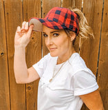 PLAID CRISS CROSS HAT