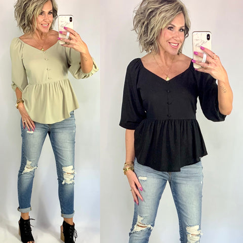 DID YOU SAY BRUNCH IN BABYDOLL TOP/ AVAILABLE IN 2 COLORS