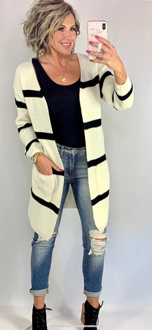 KOLBY STRIPED POCKET CARDIGAN