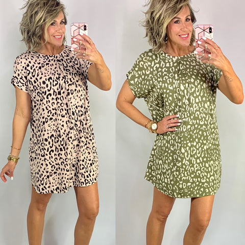 IT'S A SPRING THING LEOPARD SHIFT DRESS/ AVAILABLE IN 2 COLORS