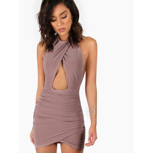 Backless Ruched Peakaboo Halter Dress