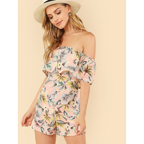 Off Shoulder Foldover Tropical Print Romper