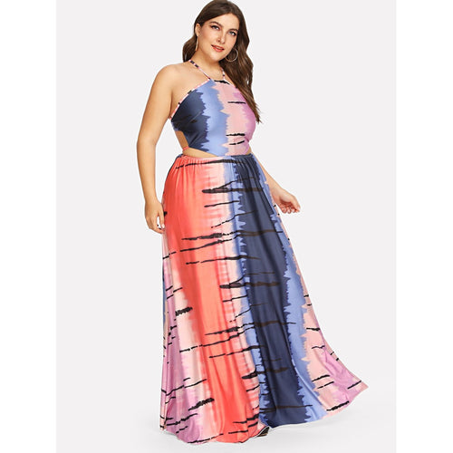 Tie Dye Cut Out Halter Dress