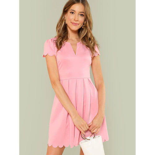 V-Notch Scalloped Box Pleated Dress