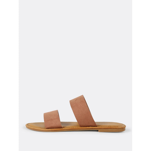 Faux Suede Double Band Slide Sandal MOCHA