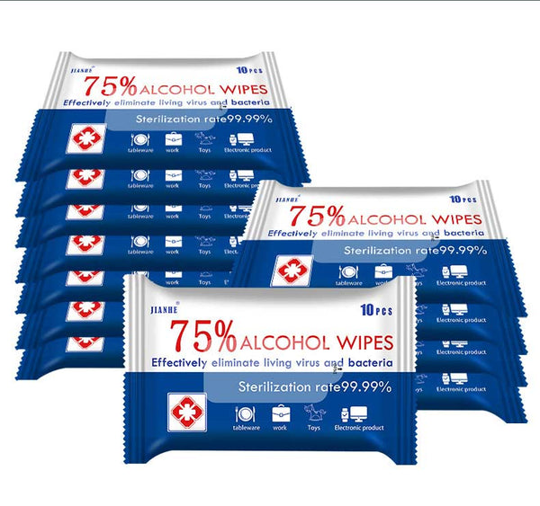 (10packs)75% Disposable Alcohol Wipes (Effectively eliminate living virus and bacteria)