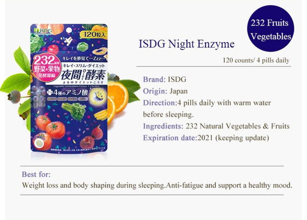 iSDG Night Enzyme Weight Loss Slimming Products Fat Burning Better Digestion Supplement Suppress Appetite 120 Counts