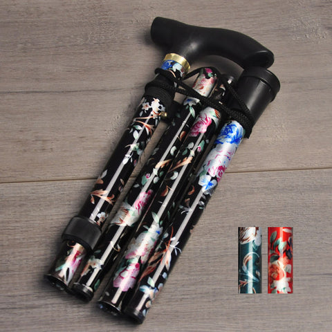Aluminium Folding Telescopic Walking Stick(Floral Pattern)