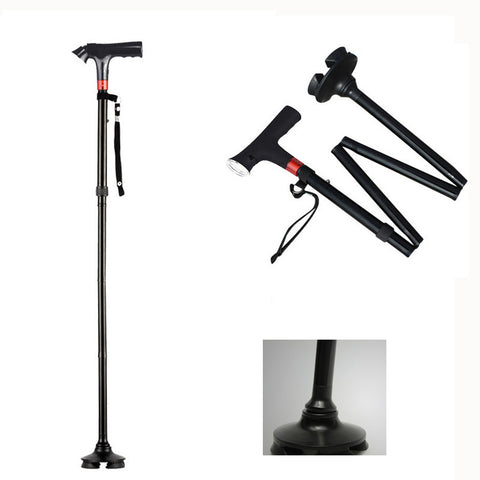 Yuetor Cane - 4-point LED Telescopic Folding Cane