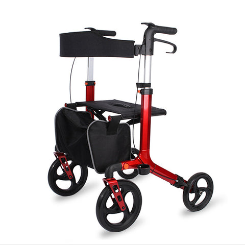 10-inch Wheel Aluminium Rollator(Red)