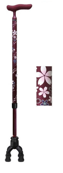 Shima Product Walking Cane - Carbon Fiber Slim Neck Telescopic 4-point Movable Walking Stick(Red/Stripe) 四点可動式オン・オフさん