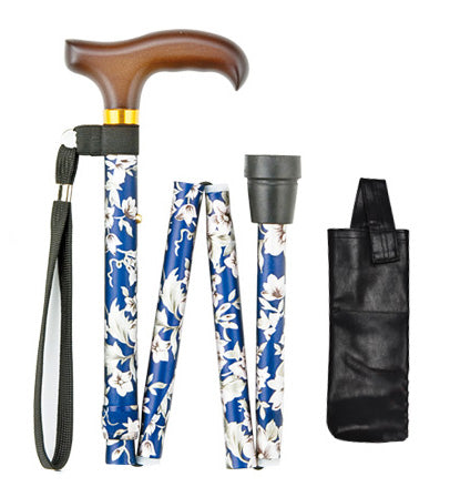 Ichigo Ichie Walking Cane - Aluminium Folding Telescopic Walking Stick(Floral Pattern)