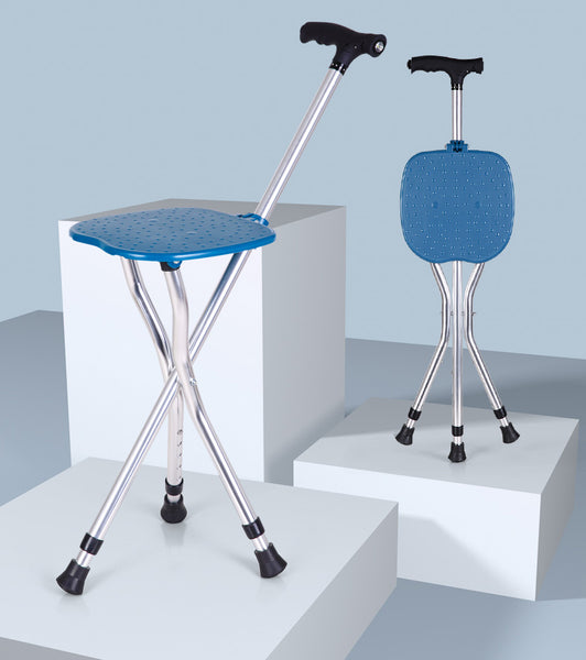 LED Aluminum Folding Cane Seat(Brown/Blue)