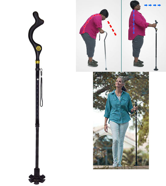 Campbell Posture Cane - Revolutionary ergonomic grip handle that helps walking in a natural upright posture