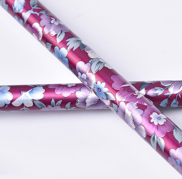 Ichigo Ichie Walking Cane - Thick Aluminium Shock Absorber Telescopic 3-point Movable Walking Stick (Floral Pattern)