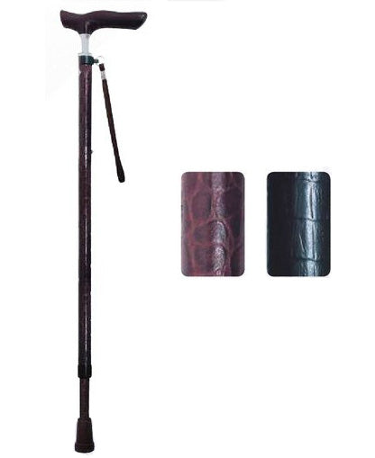 Shima Product Walking Cane - Leather Aluminium Slim Neck Telescopic Walking Stick 伸縮ジョイントレザーステッキ