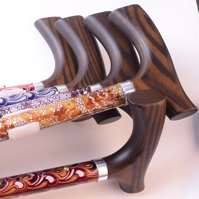 Aluminium Folding Telescopic Walking Stick(Floral Pattern with Wooden Grip)