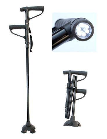 LED Double Handle Telescopic Folding Quad Cane