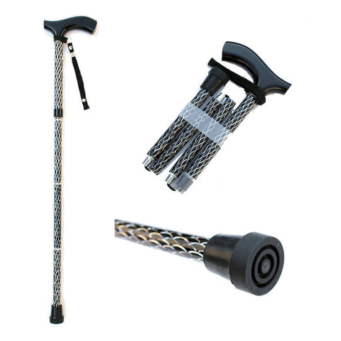 Cleye Walking Cane - Engraved Aluminium Folding Walking Cane