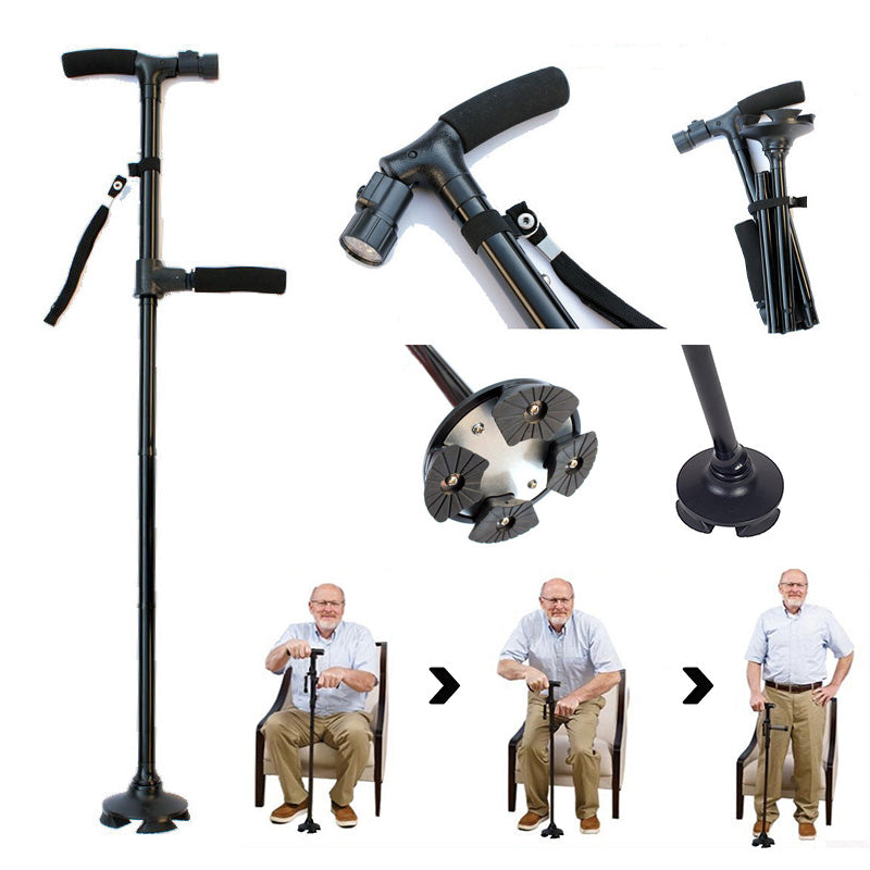 Twin Grip Cane - Dual Grip LED Folding Telescopic 4-point Pivoting Base Walking Cane
