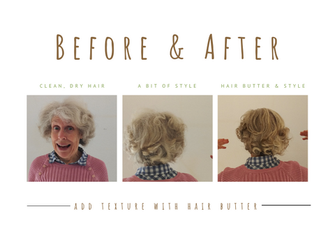 Second Life Hair Butter Before and After with greying hair
