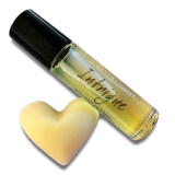 INTRIGUE perfume roller bottle with heart shaped Beesilk sample bar