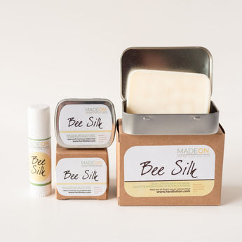 Beesilk hard lotion bar comes in various sizes, from a soap size to lotion bar in a stick.