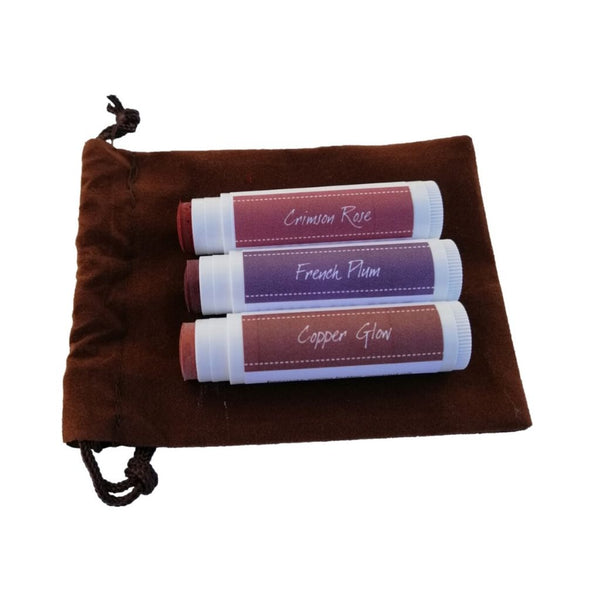 Tinted Lip Balm 3 pack in pouch