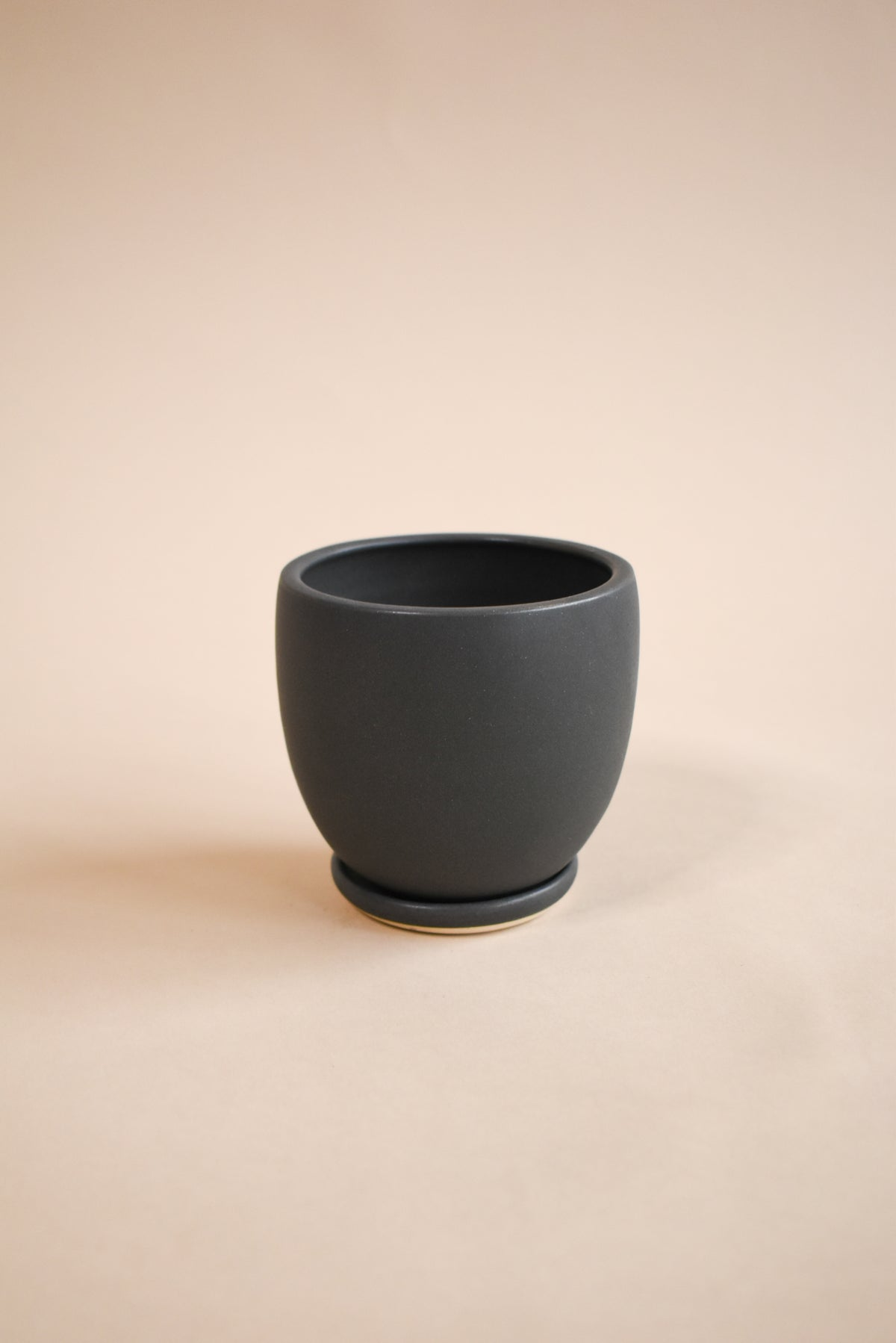 Small Tabletop Ceramic Planter with Saucer