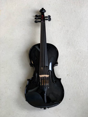 5 String Acoustic Electric Black Carbon Fiber Violin