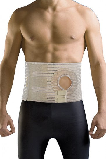 Abdominal belt for post-operative care after Colostomy or Ileostomy surgery Ostomia Provides hernia support and protection with strong even support for the abdominal wall. Made of stretch fabric with stabilizing ribs to prevent wrinkling, providing comfortable fit For Right or Left Stoma - 3.14