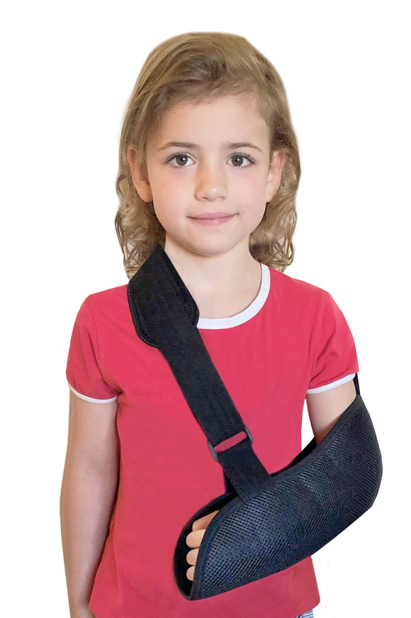 Uriel Kids Arm Sling designed specifically for children. Extra comfortable sling with focus on minimal pressure and tension on the back of the neck. Recommended for recovery and support following an arm fracture, arm sprain and other injuries. Sold by Uriel USA