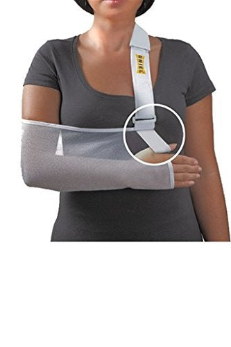 Uriel Pouch Arm Sling provides relief and protection while you're recuperating and healing from an arm or hand fracture, sprain or surgery Helps distribute weight to the shoulder and back Reversible for the right or left arm Available in Medium (suitable for children), Large and XL.  Lightweight mesh ideal for warm climates.