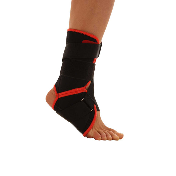 URIEL black ankle sports brace with velcro.  Functional ankle brace is specially designed to limit inversion and aversion but allows for full flexion, normal walking and sports activity.  Made of thick THERMAL Neoprene, with 100% cotton terry lining. It helps retaining body heat which promotes faster healing and ease of pain.  With two anatomically designed plastic stays for lateral & medial support, leaving the malleoli uncovered to prevent pressure.  The Velcro strap allows easy adjustment.