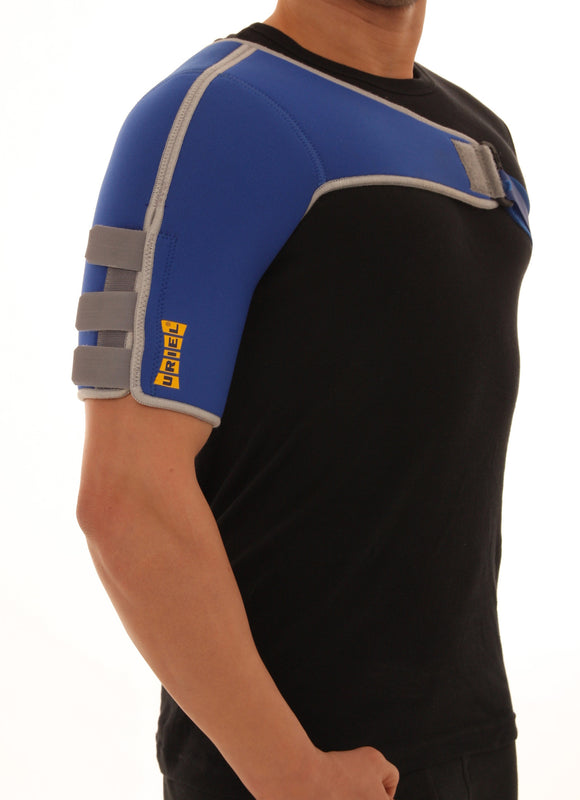 Uriel Arm Shoulder Support. Neoprene for Right or Left Shoulder. The sleeve provides compression on the common extensor muscles, helps in pain relief of elbow joint, shoulder muscles and tendons, due to rotator cuff syndrome, bicipital tendinitis, acromioclavicular joint injury, osteoarthritis, over extension, strain or fatigue. Thermal Neoprene provides warmth and compression Adjust at bicep and around chest for personalized fit. Measure circumference around bicep for proper fit