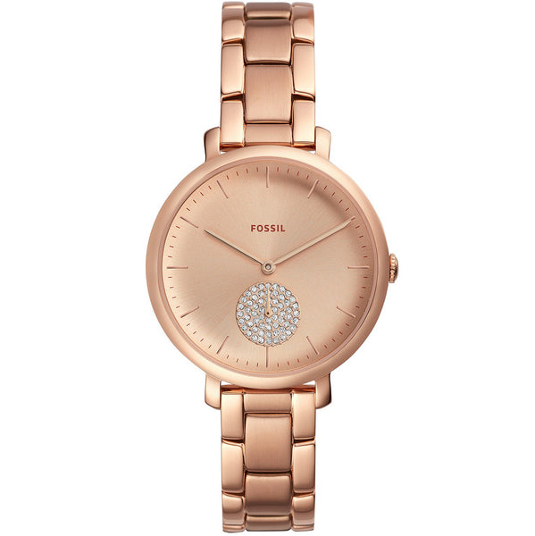 Fossil Jacqueline Womens Rose Gold Stainless Steel Band Gold Quartz Dial Watch (ES4438)